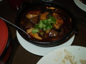 Pig Intestine and Congealed Bloos Hot Pot at JJ Chinese.